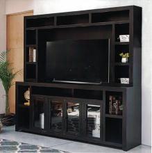 "VH-9501-04  Gracie oaks merlinda black finish wood entertainment center TV stand holds up to 70"" TV"