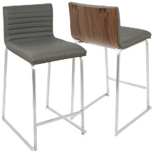 "Mara Contemporary 26"" Counter Stool+ in Walnut and Grey -Set of 2"