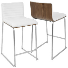 "Mara Contemporary 26"" Counter Stool+ in Walnut and White -Set of 2"