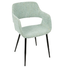Margarite Mid-Century Modern Dining / Accent Chair in Light Green Fabric - Set of 2