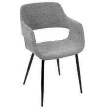 Margarite Mid-Century Modern Dining / Accent Chair in Grey Fabric - Set of 2
