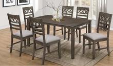 Matrix-7PC 7 pc Latitude run cliett matrix antique grey finish wood dining table set