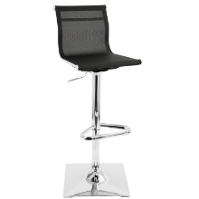 Mirage Height Adjustable Contemporary Barstool with Swivel in Black