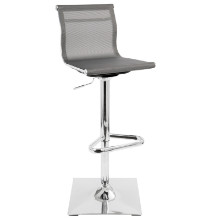 Mirage Height Adjustable Contemporary Barstool with Swivel in Silver