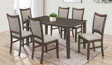 Naomi-7PC 7 pc Latitude run cliett naomi antique grey finish wood dining table set