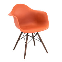 Neo Flair Mid-Century Modern Chairs in Orange and Espresso  - Set of 2