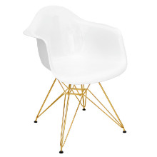 Neo Flair Mid-Century Modern Chairs in White and Gold