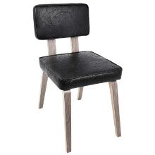 Nunzio Mid-Century Modern Dining Chair in Light Grey Wood and Black PU  - Set of 2