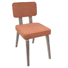 Nunzio Mid-Century Modern Dining Chair in Light Grey Wood and Orange Fabric  - Set of 2