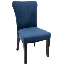 Olivia Contemporary Dining Chair in Espresso Wood and Navy Blue Velvet -Set of 2