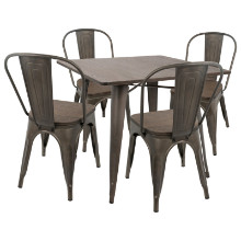 Oregon 5pc Industrial Farmhouse Dining Set in Antique and Espresso