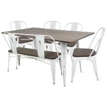 Lumisource DS-OR6-VW-E Oregon 6pc Industrial Farmhouse Dining Set in Vintage White and Espresso
