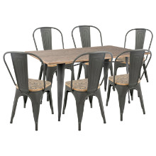 Oregon 7pc Industrial Farmhouse Dining Set in Grey and Brown