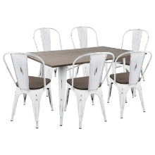 Oregon 7pc Industrial Farmhouse Dining Set in Vintage White and Espresso