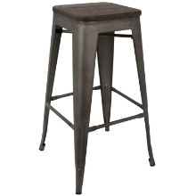Oregon Stackable Industrial Barstool - Set Of 2 in Dark Espresso Top and Antique Finish