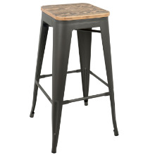 Oregon Stackable Industrial Barstool - Set Of 2 in Medium Brown Top and Grey Finish