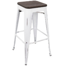 Lumisource BS-OR-VW-E2 Oregon Industrial Barstool with Vintage White Frame and Espresso Wood -Set of 2