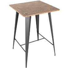 Oregon Industrial Pub Table in Medium Brown Top and Grey Finish