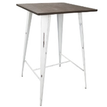 Oregon Industrial Pub Table with Vintage White Frame and Espresso Wood