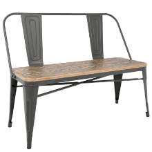 Oregon Industrial Bench with Grey Frame and Brown Wood