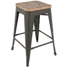 Oregon Industrial Stackable Counter Stool with Grey Frame and Brown Wood -Set of 2