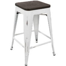 Oregon Industrial Stackable Counter Stool with White Frame and Espresso Wood -Set of 2