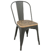 Oregon Stackable Industrial Dining Chair - Set Of 2 in Grey and