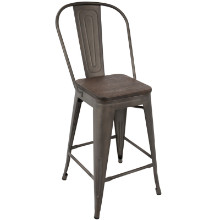 Oregon Industrial High Back Counter Stool with Antique Frame and Espresso Wood -Set of 2