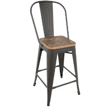 Oregon Industrial High Back Counter Stool with Grey Frame and Brown Wood -Set of 2
