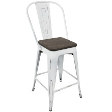 Oregon Industrial High Back Counter Stool with Vintage White Frame and Espresso Wood