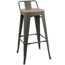 Lumisource BS-LBOR-GY-BN2B Oregon Industrial Low Back Bar Stool with Grey Frame and Brown Wood -Set of 2