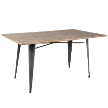 """Oregon 59"""" Industrial Farmhouse Dining Table in Grey Metal and Brown Bamboo"""