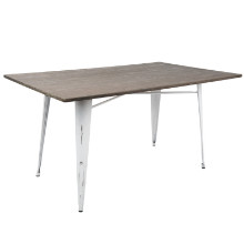 "Lumisource DT-6036OR-VW-E Oregon 59"" Industrial Farmhouse Dining Table in Vintage White Metal and Espresso Bamboo"