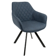 Outlaw Industrial Dining / Accent Chair in Blue PU - Set of 2