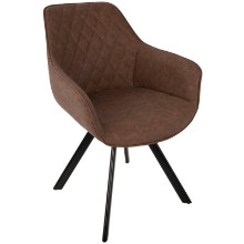 Outlaw Industrial Dining / Accent Chair in Brown PU - Set of 2
