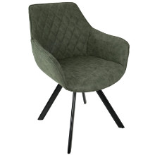 Outlaw Industrial Dining / Accent Chair in Green PU - Set of 2