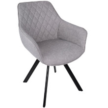 Lumisource CH-OUTLW-BK-GY2 Outlaw Industrial Dining / Accent Chair in Grey PU - Set of 2