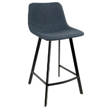 Lumisource CS-OUTLW-BK-BU2 Outlaw Industrial Counter Stool in Blue PU - Set of 2