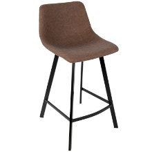 Outlaw Industrial Counter Stool in Brown PU - Set of 2
