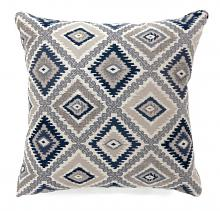 "PL6001BL Set of 2 deamund collection blue colored fabric 22"" x 22"" throw pillows"