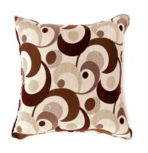"""PL6002BR Set of 2 swoosh brown colored fabric 18"""" x 18"""" throw pillows"""