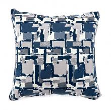 "PL6003BL Set of 2 concrit blue colored fabric 22"" x 22"" throw pillows"