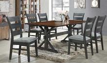 Phoenix-7PC 7 pc Latitude run cliett phoenix walnut finish wood grey fabric chairs dining table set