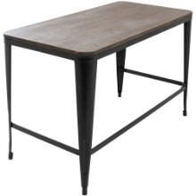 Pia Industrial Wood Top Desk in Black with Espresso Top