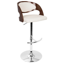 Pino Height Adjustable Mid-century Modern Barstool with Swivel in Cherry and White