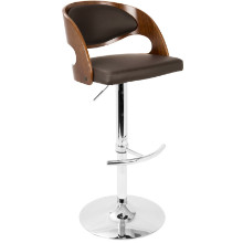 Pino Mid-Century Modern Adjustable Barstool with Swivel in Walnut and Brown