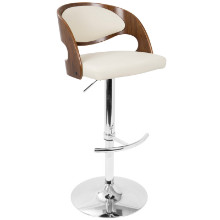 Pino Mid-Century Modern Adjustable Barstool with Swivel in Walnut and Cream