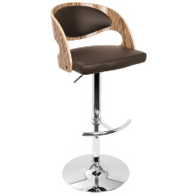 Lumisource BS-JY-PN-ZB-BN Pino Height Adjustable Mid-century Modern Barstool with Swivel in Zebra and Brown