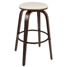 "Porto Mid-Century Modern 30"" Barstool with Swivel in Cherry Wood and White PU -Set of 2"