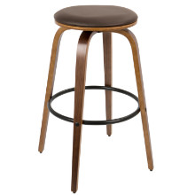 "Porto Mid-Century Modern 30"" Barstool with Swivel in Walnut Wood and Brown PU -Set of 2"
